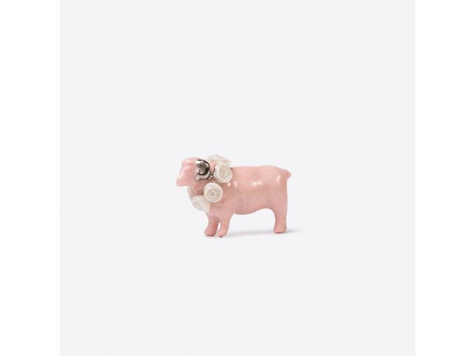 Zvířecí brož porcelán - růžový beránek